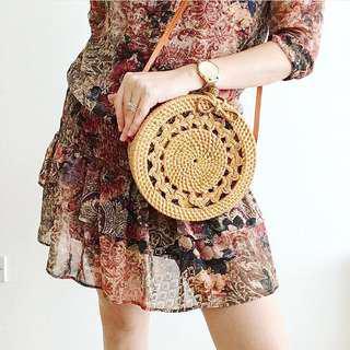🚚 [IN-STOCK] Jade Wicker Round Rattan Bag