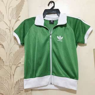 Adidas green short sleeve jacket