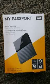 New WD 4TB Portable HDD Hard Disk Drive My Passport 4.0 TB external Western Digital 2.5