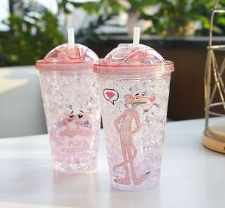 (361) Portable Cute Pink Panther Straw Cup