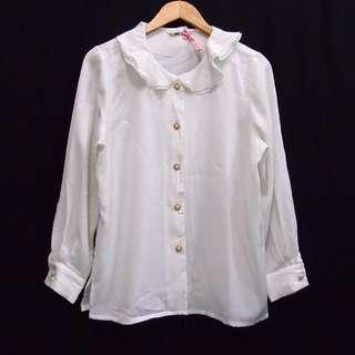 Kemeja Blouse White Collar Vintage Formal Kantor