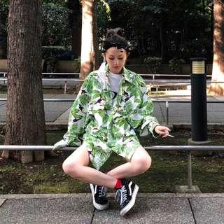 VM 2018新款夏季 港風潮流 個性款 熱帶雨林印花 寬鬆長袖防曬襯衫