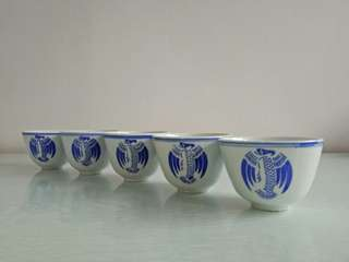 60s Bule And White Tea Cup 5 For $15