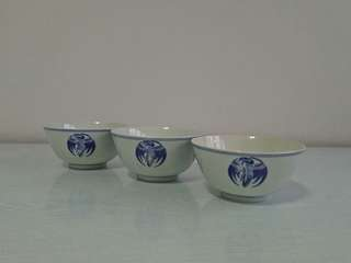 60s Bule and white bowls h6cm d12cm perfect 3 for $12