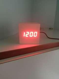 White cube LED digital clock