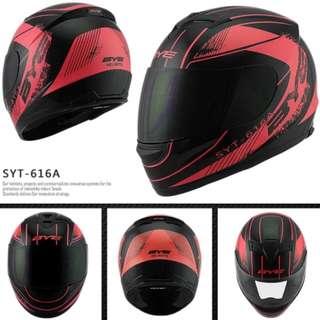 Black with Red Designs Full Face Motorcycle Helmet Bike