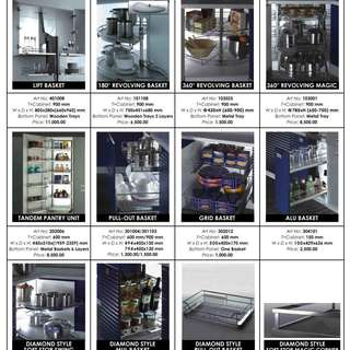 Rotheim Kitchen Baskets and Accessories Pricelist.