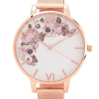 Olivia Burton Winter Garden Rose Gold Mesh