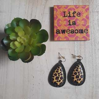 Fancy Dangle Earrings // Animal Print