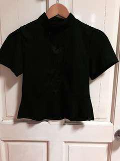 Zara Black Peplum Top with Lace