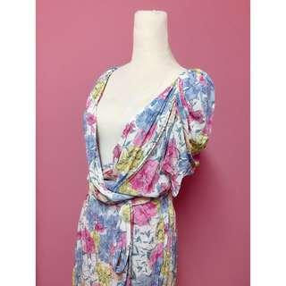 Puree花苞v領領綁帶洋裝