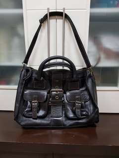 Oversized black thick leather