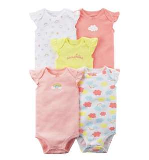 🚚 BN Carters Baby Girl Flutter Sleeves Rainbow 5 Piece Bodysuits/Rompers 6m-18m available!