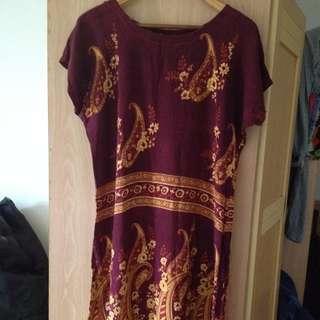 民族風圖騰+花朵 舒適棉質洋裝