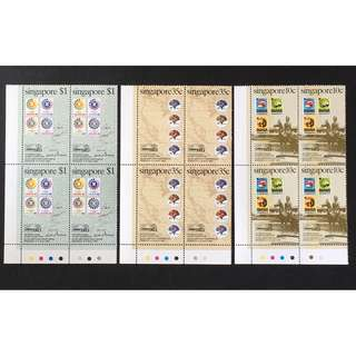 Singapore 1983 Bangkok Int. Stamp Exh., full set of 3, MnH. Block of 4