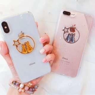 手機殼IPhone6/7/8/plus/X : 可愛金箔背影貓咪閃粉底全包邊透明軟殼