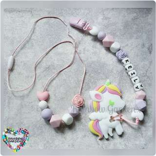 Handmade beads necklace & Pacifier Clip with customisation of name + Pastel Unicorn teether