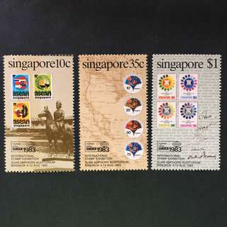 Singapore 1983 Bangkok Int. Stamp Exh., full set of 3, MnH