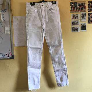 Zara Distress White Jeans