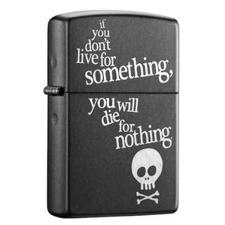 🚚 Authentic Zippo Lighter - Black Matte Finish Lighter, Live for Something or Die For Nothing 29091