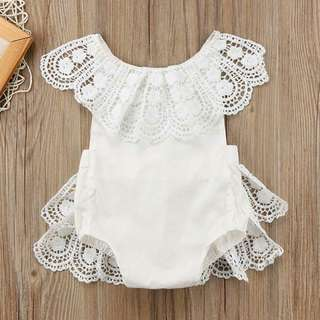 Adorable Lace Hollow out BackTie Sleeveless Bodysuit for Baby Girl.