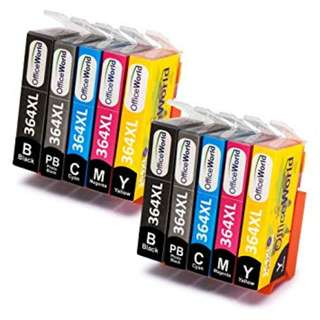 852. OfficeWorld Replacement for HP 364 364XL Ink Cartridges High Yield Work with HP Photosmart 7510 7520 B8550 C5380 C5324 C6324 C6380 C309 C309a (4Black, 2 Cyan, 1Magenta, 2 Yellow)