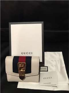 Gucci米白色短銀包Sylvie leather wallet