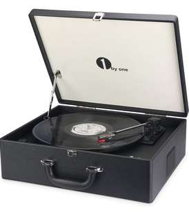 (107) 1byone Suit-case Style Turntable with Speaker, Bluetooth support and Vinyl-To-MP3 Recording, Belt Driven Record Player, Black
