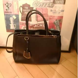 Fendi 2jours BLACK Medium tote leather handbag 手袋