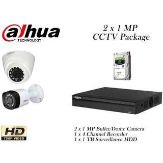 Dahua 2 x 1 Megapixels CCTV Package