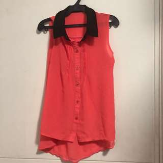 Peter Pan Cut Blouse- Office Blouse- Orange