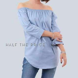 [Re-priced] OVERRUN Blue Off Shoulder Tie Top by HTP