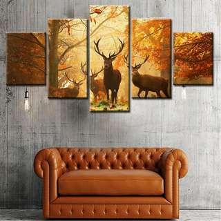 (Framed) 5 Pieces Deer Sunset Canvas Set
