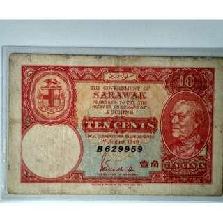 Sarawak 1940 10 cent emergency banknote