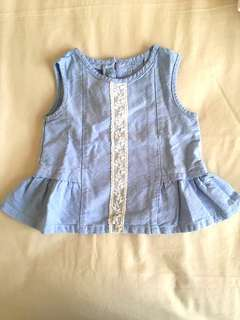 Gingersnap top blue lace peplum
