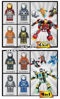 DLP 9065 Iron Man 8in1 Minifigures with 2 Mechs FREE