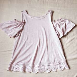 NEW LOOK Lace Trim Cold Shoulder Top (Size UK8)
