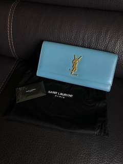 YSL Saint Laurent Kate Clutch Baby Blue Gold Logo