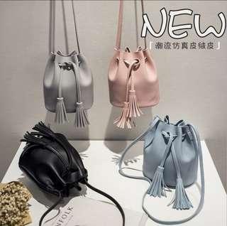 korean tassle drawstring shoulder bag