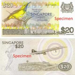 Old singapore $20 notes (bird series)