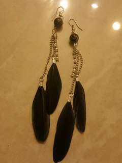 Black feather earings