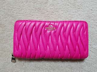 Coach hot pink leather wallet
