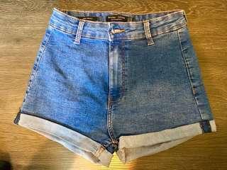 Bershka Denim High Waist Shorts