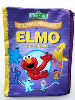 NEW Sesame Street My Adventures Elmo And Friends Book Cover Print Design Zipped Vinyl Multipurpose Pouch