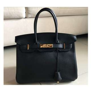 Authentic Hermes Birkin 30 Black Epsom Ghw
