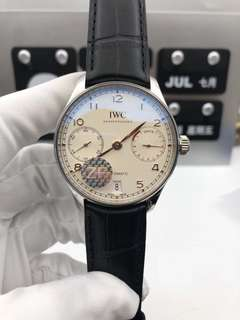 IWC Schaffhausen Portuguese Real PR IW500114 V5 Stainless Steel Case White Dial on Black Leather Strap