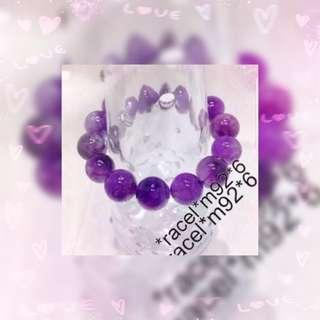 天然 A貨 紫水晶 (Feb 幸運水晶)  優質 14mm 珠手串 一條  JB- 201