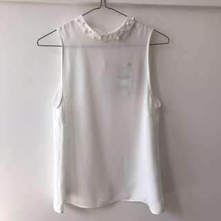 Bnwt Zara White Pearl Collar Top Small
