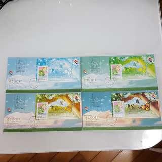香港2001郵展紀念封~系列二(4個)