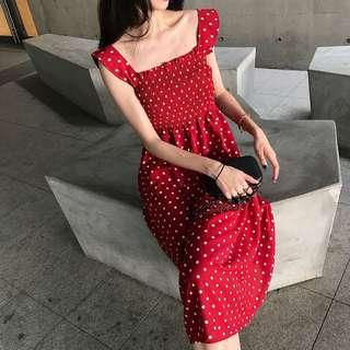 CUTE RED POLKA DOT LONG DRESS